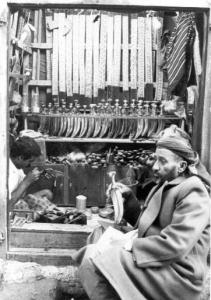 A shop in Sana'a, Yemen selling janbiyas. Photo by Lucy Vigne.