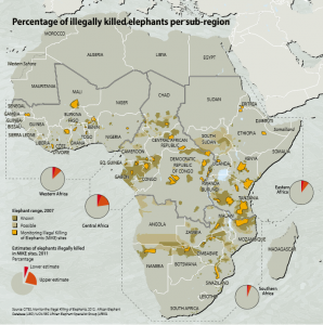 Percentage of Illegally Killed Elephants per Sub-region (Africa). Source: CITES Elephants in the Dust, page 37.