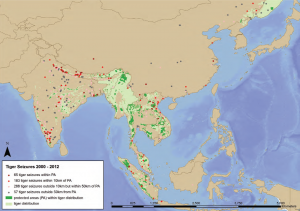 All Tiger Seizures 2000-2012 (Asia). Source: WWF/TRAFFIC: Reduced to Skin and Bones, page 14.
