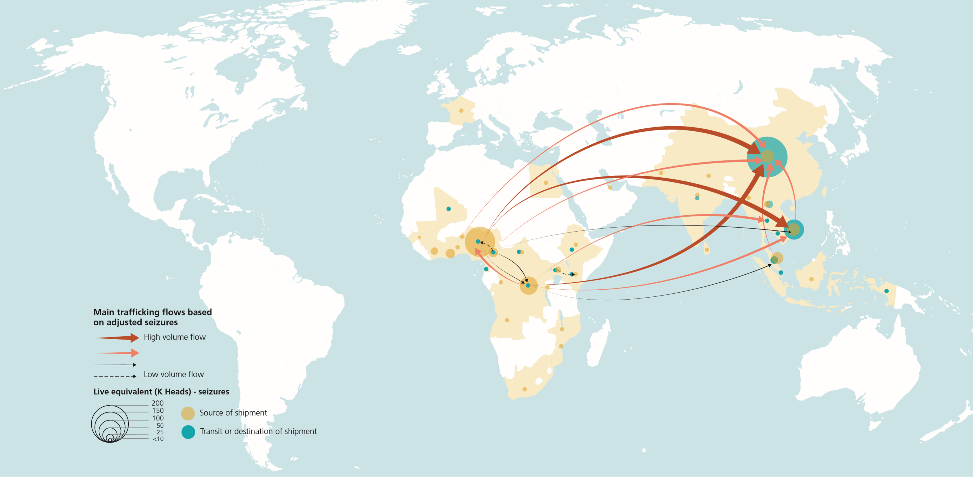 Main trafficking flows and reported origins/destinations of seized pangolin scales (2007-2018). Source: World WISE & UNODC.